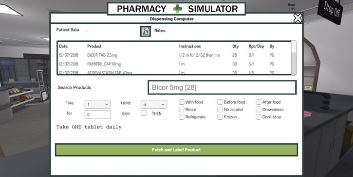 The dispensing computer interface